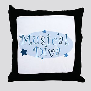 """Musical Diva"" [blue] Throw Pillow"
